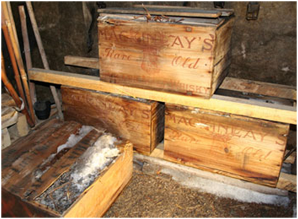 Original cases of Mackinlays Rare Old Highland Malt Whisky after their discovery in 2007 (2)