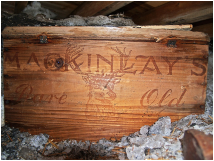 Original cases of Mackinlays Rare Old Highland Malt Whisky after their discovery in 2007